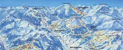 Увеличить изображение схемы склонов горнолыжного курорта Бад Гаштайн