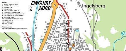Увеличить изображение схемы расположения отелей и других достопримечательностей Бад Хофгаштайн