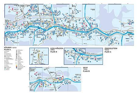 Увеличить изображение схемы расположения отелей и других достопримечательностей города Зёльден