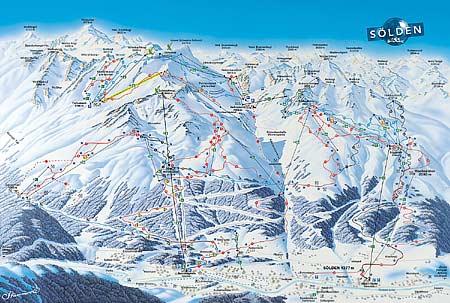 Увеличить изображение схемы склонов горнолыжного курорта Зёльден