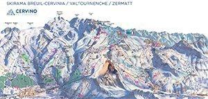 Увеличить изображение схемы склонов горнолыжного курорта Червиния